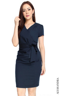 Faux Wrap Dress - Navy