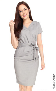 Faux Wrap Dress - Heather Grey