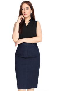 Denim Pencil Dress - Black