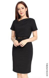 Asymmetrical Origami Dress - Black