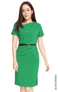 Asymmetrical Origami Dress - Emerald