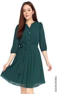 Buttons Pleated Chiffon Dress - Forest Green