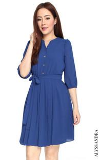 Buttons Pleated Chiffon Dress - Blue