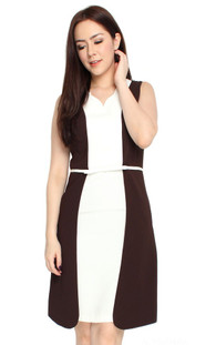 Contrast Layers Dress - Coffee