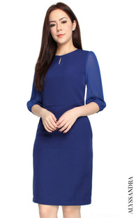 Chiffon Sleeves Keyhole Dress - Navy