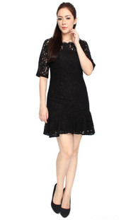 Lace Mermaid Dress - Black