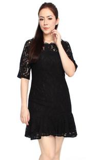 Lace Mermaid Dress - Black