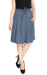 Flowy Pleated Culottes - Steel Blue