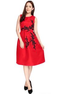 Floral Lace Motif Dress - Red