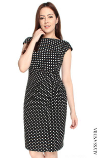 Side Twist Jersey Dress - Polka Dots