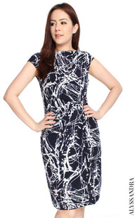Side Twist Jersey Dress - Abstract Print