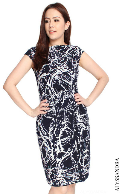 Side Twist Jersey Dress - Abstract Print