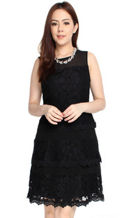 Lace Tiered Dress - Black