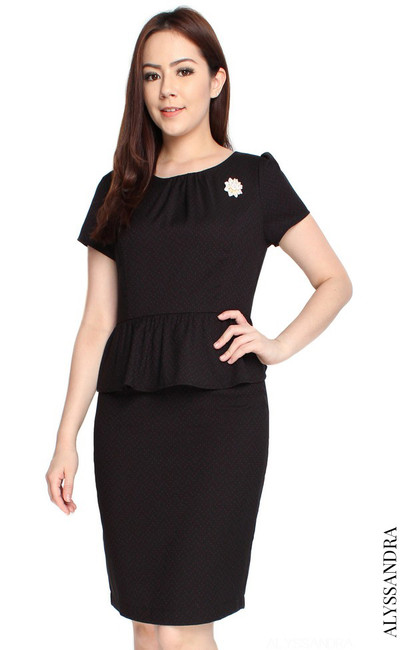 Dotted Peplum Dress - Black