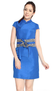 Obi Belt Cheongsam - Blue