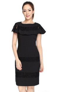 Lace Panel Cape Dress