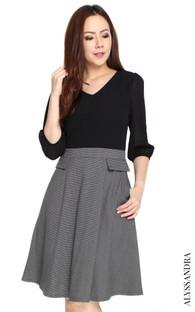 Chiffon Top Flare Dress - Black