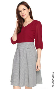 Chiffon Top Flare Dress - Wine