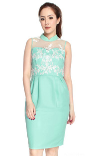 Mesh Floral Applique Cheongsam - Mint