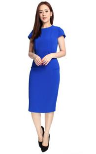 Structured Origami Pencil Dress - Cobalt Blue