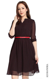 Mandarin Collar Chiffon Dress - Black