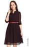 Mandarin Collar Chiffon Dress - Black