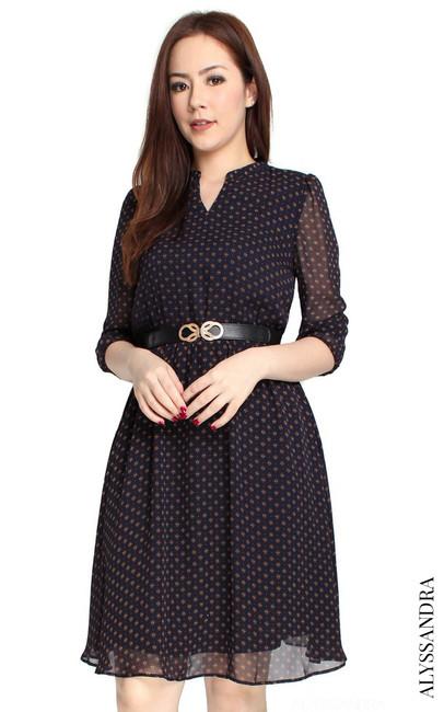 Mandarin Collar Chiffon Dress - Navy