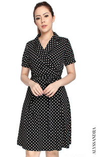 Wrap Front Dress - Polka Dots