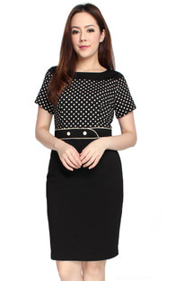 Polka Dot Top Pencil Dress
