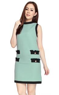 Contrast Shift Dress - Jade