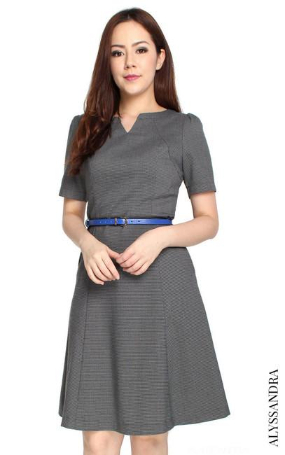 Mini Houndstooth Flare Dress - Dark Grey