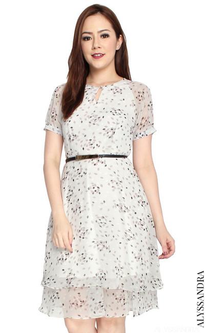 Tiered Chiffon Dress - Dove Grey