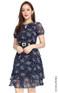 Tiered Chiffon Dress - Navy