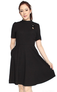 High Collar Knit Flare Dress - Black