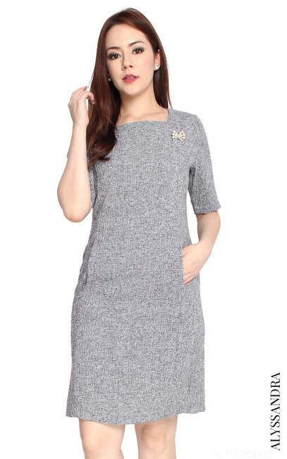 Tweed Sheath Dress - Grey