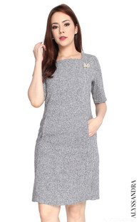 Tweed Sheath Dress - Grey