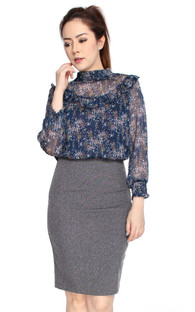 Printed Ruffle Bib Top - Navy