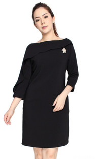 Asymmetrical Boat Neck Dress