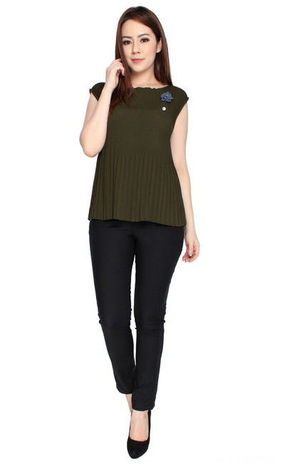 Pleated Top - Olive