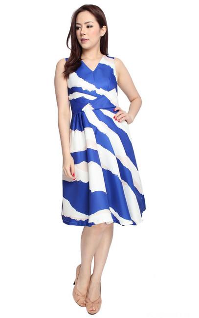 Asymmetrical Printed Flare Dress