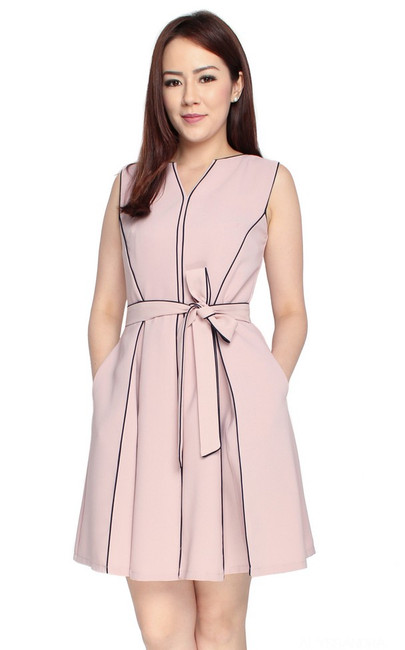 Contrast Piping Dress - Dusty Pink