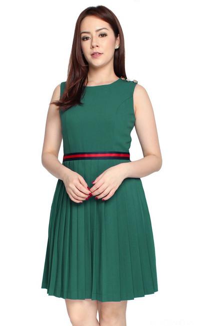 Ribbon Waist Pleated Dress - Emerald