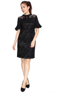 Lace Trumpet Sleeves Dress