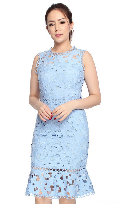Guipure Lace Dress - Baby Blue