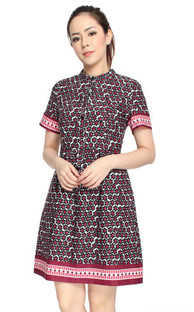 Floral Tile Dress - Black