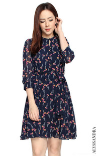 Floral Buttons Chiffon Dress - Navy