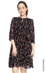 Floral Buttons Chiffon Dress - Black