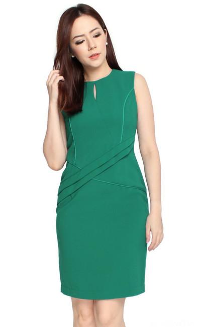 Criss Cross Pencil Dress - Emerald