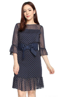 Chiffon Trumpet Sleeves Dress - Navy
