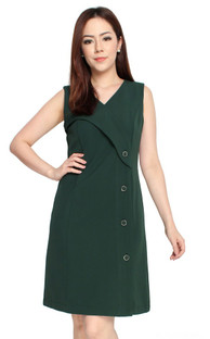 Side Buttons Dress - Forest Green